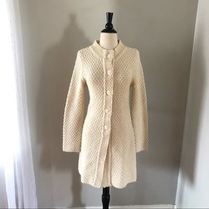 Vintage Anthropologie Ivory Beaded Sweater Coat
